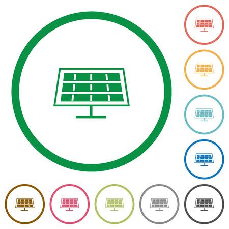 solarenergy: Set of solar panel color round outlined flat icons on white background Illustration