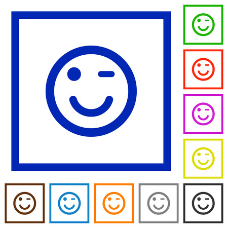 joking: Set of color square framed Winking emoticon flat icons