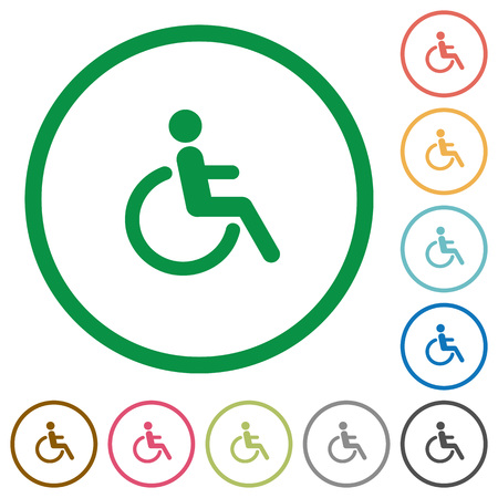 limitations: Set of disability color round outlined flat icons on white background Illustration