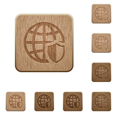 variations set: Set of carved wooden internet security buttons in 8 variations.