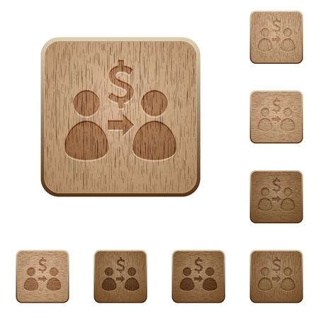 variations set: Set of carved wooden send Dollar buttons in 8 variations. Illustration