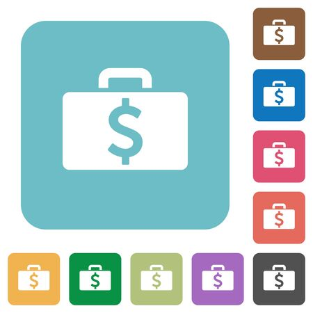 dollar bag: Flat Dollar bag icons on rounded square color backgrounds. Illustration