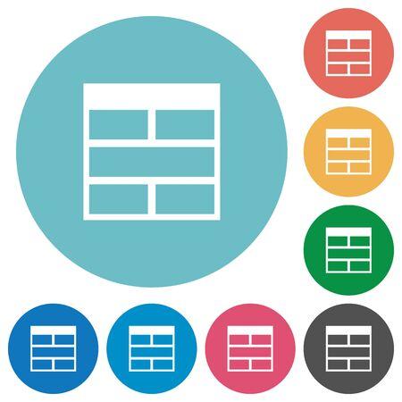 horizontally: Flat Spreadsheet horizontally merge table cells icon set on round color background.