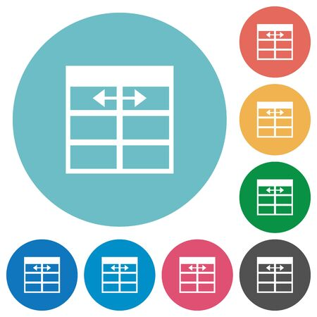 width: Flat Spreadsheet adjust table column width icon set on round color background.