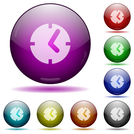 chronograph: Set of color clock glass sphere buttons with shadows. Illustration