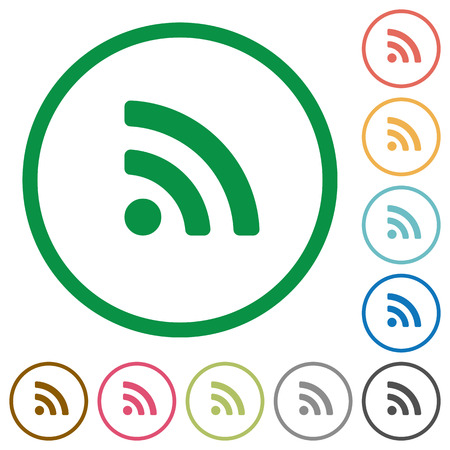 attenuation: Set of radio signal color round outlined flat icons on white background
