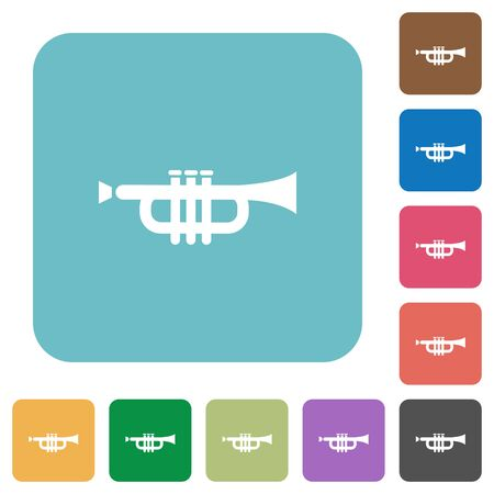 tact: Flat trumpet icons on rounded square color backgrounds. Illustration