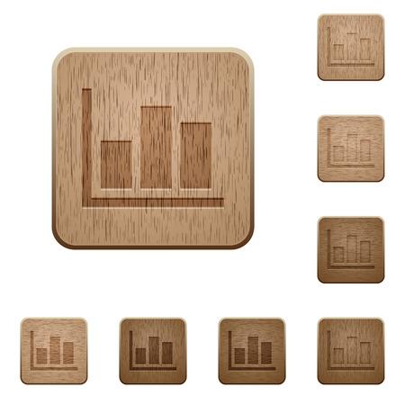 variations set: Set of carved wooden statistics buttons in 8 variations. Illustration
