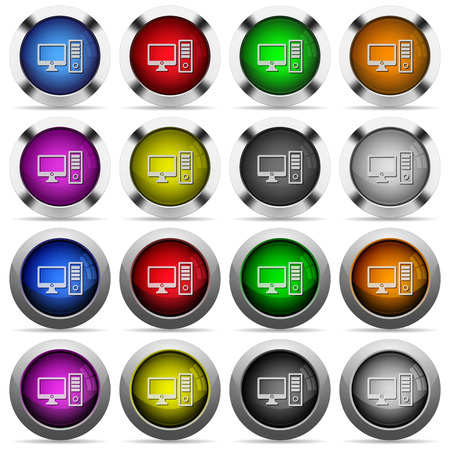 os: Set of desktop computer glossy web buttons. Arranged layer structure.