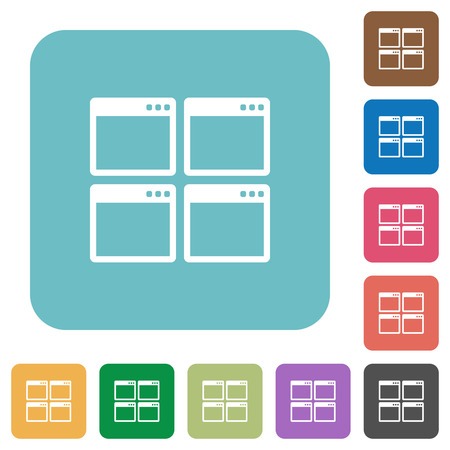 window view: Flat Mosaic window view mode icons on rounded square color backgrounds. Illustration