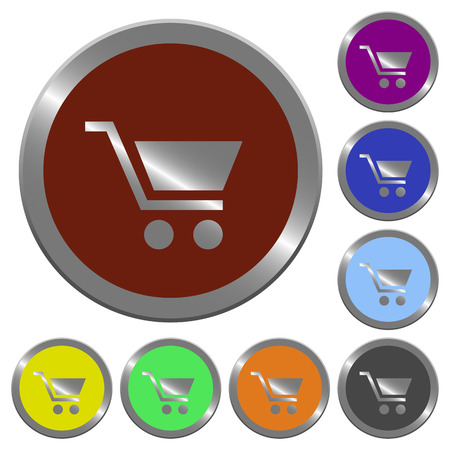 claret: Set of color glossy coin-like empty shopping cart buttons