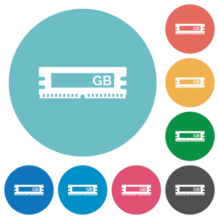 gigabyte: Flat RAM module icon set on round color background.