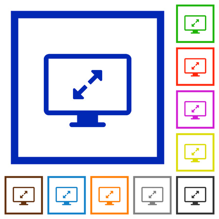 display size: Set of color square framed screen resolution flat icons