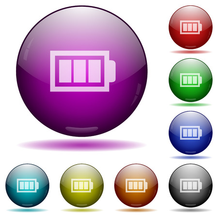 accu: Set of color full battery glass sphere buttons with shadows. Illustration