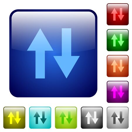 kilobyte: Set of data traffic color glass rounded square buttons