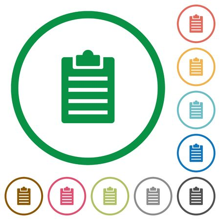 Set of notes color round outlined flat icons on white background Illustration