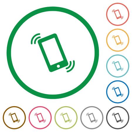 ringing phone: Set of ringing phone color round outlined flat icons on white background Illustration