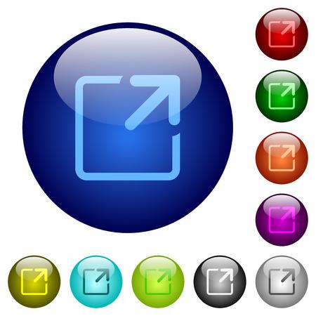 maximize: Set of color maximize window glass web buttons. Illustration