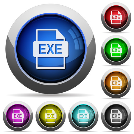 executable: Set of round glossy EXE file format buttons. Arranged layer structure. Illustration