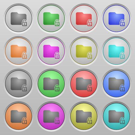 unfold: Set of Unlock folder plastic sunk spherical buttons.