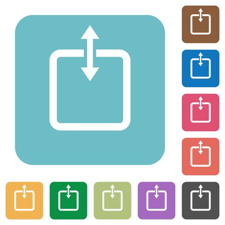 taller: Flat adjust item height icons on rounded square color backgrounds. Illustration