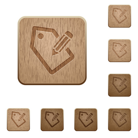 Set of carved wooden tagging buttons in 8 variations. Illustration