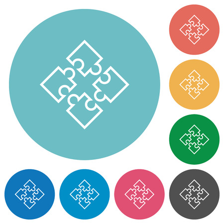 Flat puzzles icon set on round color background.