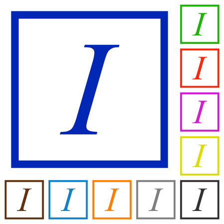 italics: Set of color square framed Italic font type flat icons