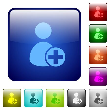 permissions: Set of add new user color glass rounded square buttons Illustration