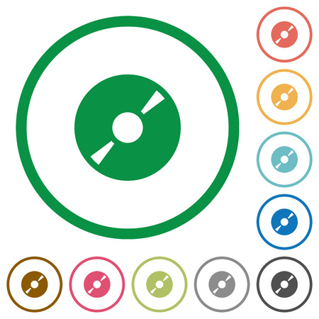 dvdrw: Set of DVD disc color round outlined flat icons on white background Illustration