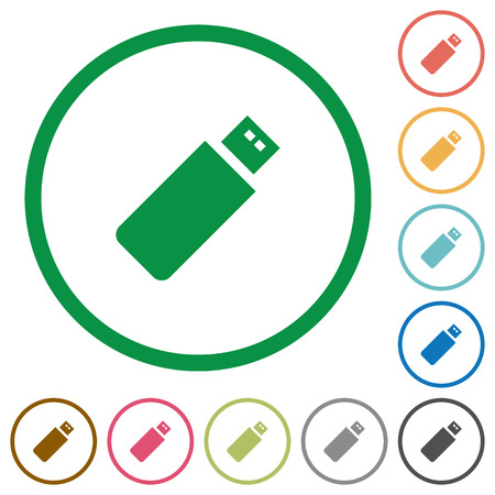 pendrive: Set of pendrive color round outlined flat icons on white background