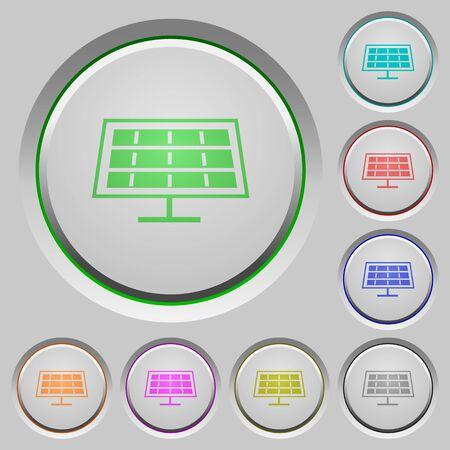 solarenergy: Set of color solar panel sunk push buttons. Illustration