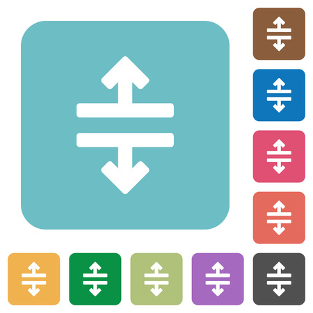 disrupt: Flat horizontal split icons on rounded square color backgrounds. Illustration