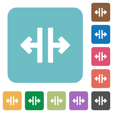 rounded: Flat vertical split icons on rounded square color backgrounds.
