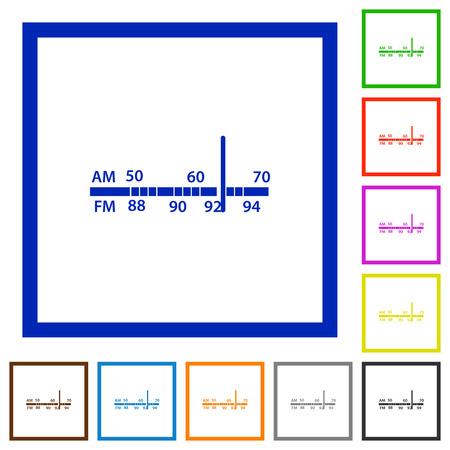 tuner: Set of color square framed radio tuner flat icons