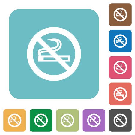 Flat no smoking icons on rounded square color backgrounds. Illustration