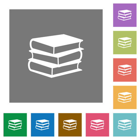 lexicon: Books flat icon set on color square background