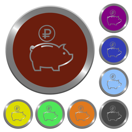 Set of color glossy coin-like Ruble piggy bank buttons