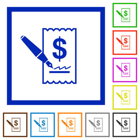 cheque: Set of color square framed cheque signing flat icons