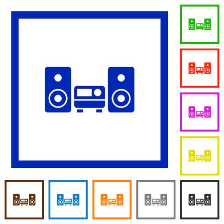 hifi: Set of color square framed hifi flat icons
