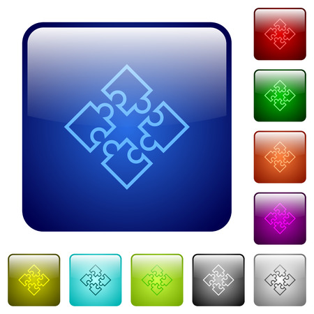 Set of puzzles color glass rounded square buttons