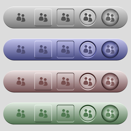 disposition: User group icons on rounded horizontal menu bars in different colors and button styles