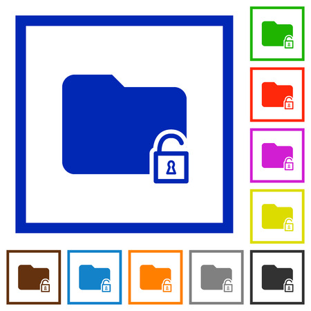 unfold: Set of color square framed unlock folder flat icons Illustration