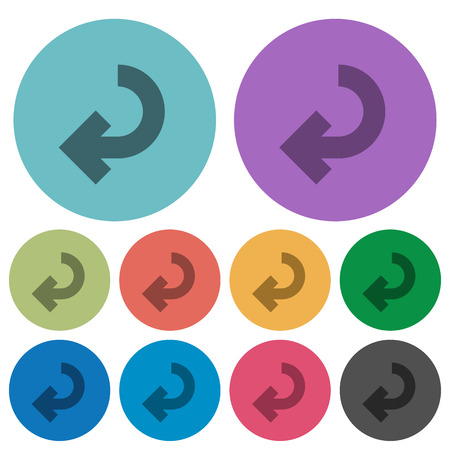 fulfill: Color return arrow flat icon set on round background.