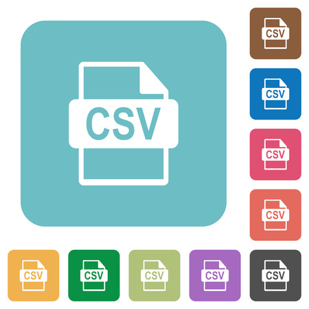 csv: Flat CSV file format icons on rounded square color backgrounds.