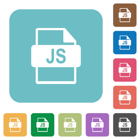 filetype: Flat JS file format icons on rounded square color backgrounds.