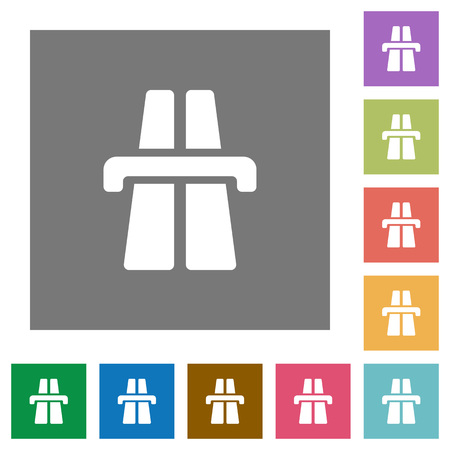 multiple lane highway: Highway flat icon set on color square background.