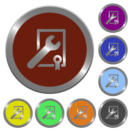 award winning: Set of color glossy coin-like award winning support buttons Illustration