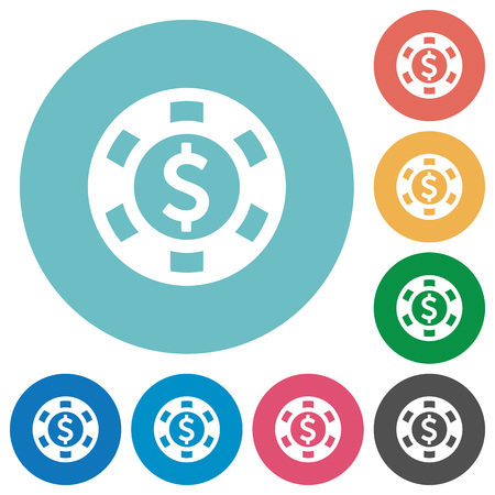 american roulette: Flat Dollar casino chip icon set on round color background. Illustration