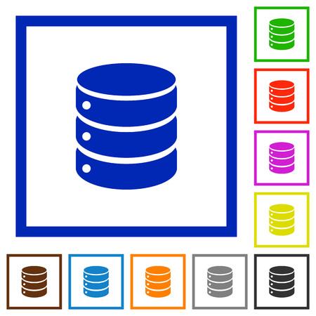 mysql: Set of color square framed database flat icons